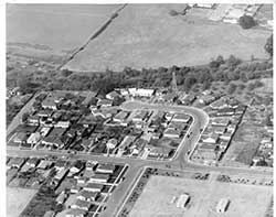 Aerial photo of Irene St homes in 1953